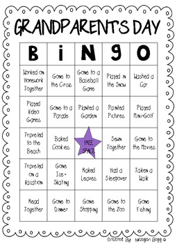 Grandparent's Day or Special Person's Day BINGO!