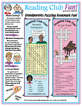 Grandparents Puzzling Bookmarks