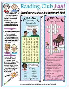 Grandparents Puzzling Bookmarks