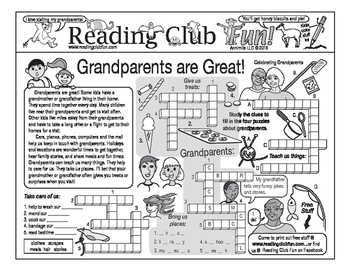 Bundle: Grandparents are Great Two-Page Activity Set And Bookmarks