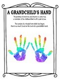Grandparents day art activity handprint hand print poem gift child