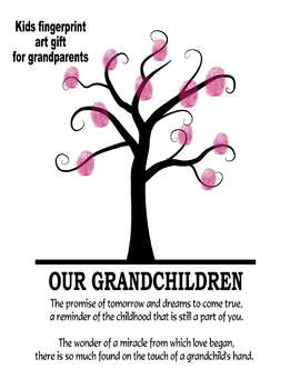 Grandparents day craft art gift tree fingerprints handprints