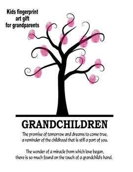 Grandparents day gift hand finger craft tree holiday art