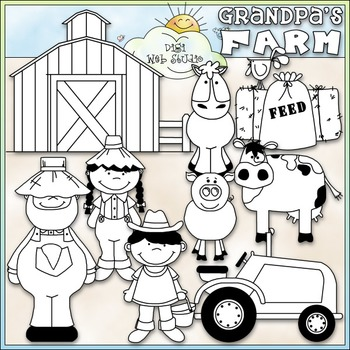Grandpa's Farm Clip Art - Farm Animals Clip Art - CU Clip Art & B&W
