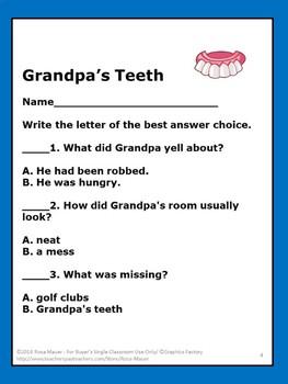 Grandpa's Teeth Reading Task cards and Worksheet