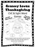 Granny Loves Thanksgiving CVC and Sight Word Game