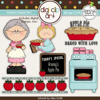 Granny's Apple Pie 1-  Digi Clip Art/Digital Stamps - CU Clip Art