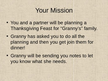 Granny's Thanksgiving Feast Activity