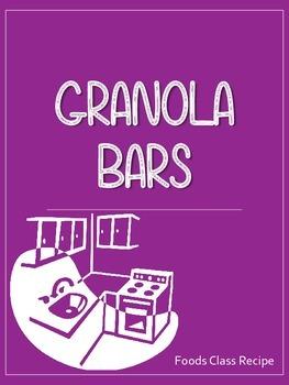 Granola Bars Recipe - Foods Class and Home Ec Printable