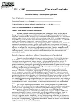 Grant Application:  District Education Foundation