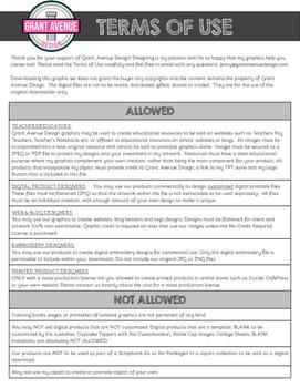 Grant Avenue Design Terms of Use