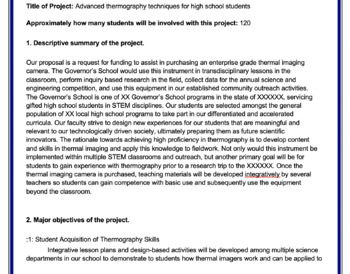 Grant Proposal for Technology Equipment (Thermal Image Camera)
