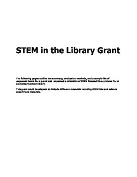 Grant Proposal for Elementary School Library: STEM in the Library