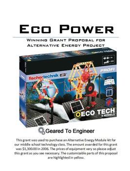 Grant: Winning Proposal for Alternative Energy Module Kits