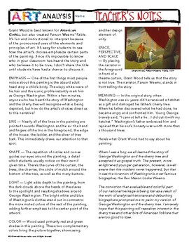 Grant Woods Parson Weems' Fable Art History Analysis Discussion Worksheet