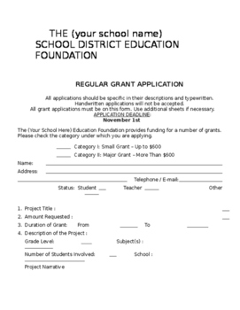 Grant application form and acceptance letter