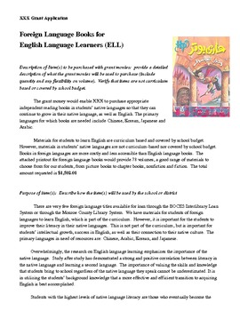 Grant for Foreign Language Books for ELL / ESOL Students