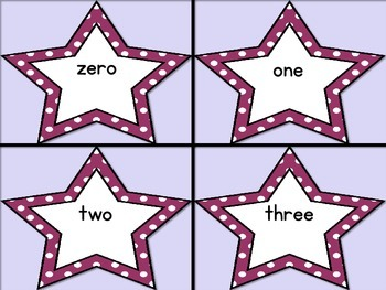 Grape Dot Star Number Word Flashcards Zero To One Hundred