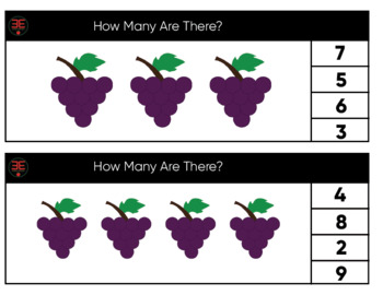Grape Number Clip Cards