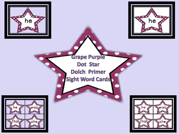 Grape Purple Dot Star Dolch Primer Sight Word Flashcards a