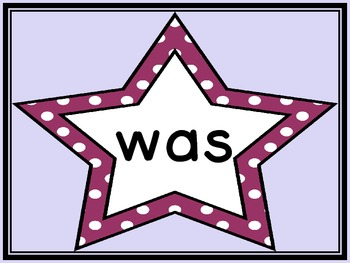Grape Purple Dot Star Dolch Primer Sight Word Flashcards and Posters