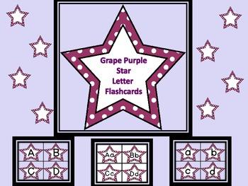Grape Purple Dot Star Alphabet Letter Flashcards