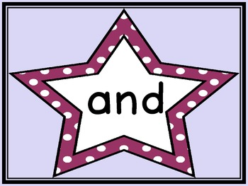 Grape Purple Dot Star  Dolch Pre-Primer Sight Word Flashcards and Posters