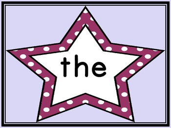 Grape Purple Dot Star  Fry First 100 Sight Word Flashcards and Posters