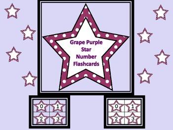 Grape Purple Dot Star Number Flashcards 0-100