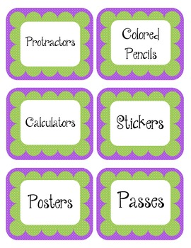 Grape Purple & Green Scalloped Polka Dot Labels