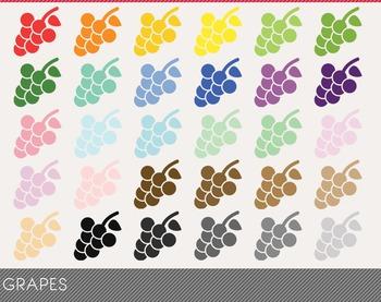 Grapes Digital Clipart, Grapes Graphics, Grapes PNG, Rainbow Grapes Digital