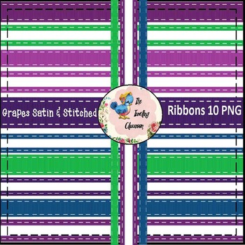Grapes Satin & Stitched Ribbons (Digital Ribbons for Commercial Use)
