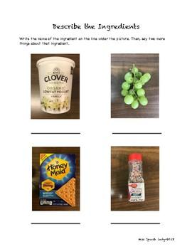 Grapes and Grahams Parfait-Recipe and Describing Worksheet