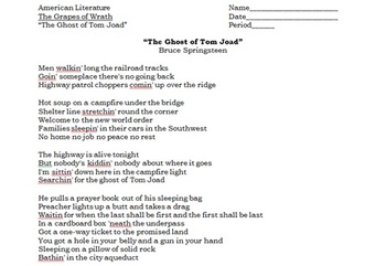 Grapes of Wrath - Ghost of Tom Joad song lyric analysis