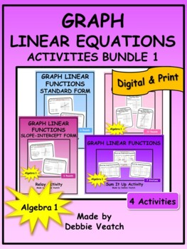 Graph Linear Equations Activities Bundle 1