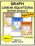 Graph Linear Equations Review Activities Bundle 3