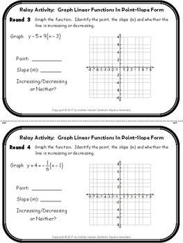 Graph Linear Functions In Point-Slope Form Relay Activity