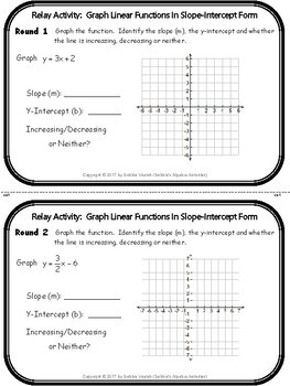 Graph Linear Functions In Slope-Intercept Form Relay Activity
