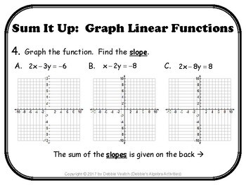 Graph Linear Functions Sum It Up Activity