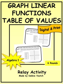 Graph Linear Functions Using A Table of Values Relay Activity