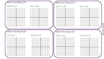 Graph Linear Inequalities task Cards
