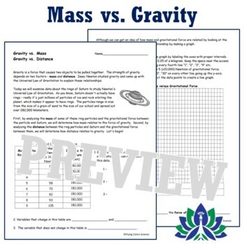 Graphing Mass vs. Gravity & Distance vs. Gravity Activity for Middle School