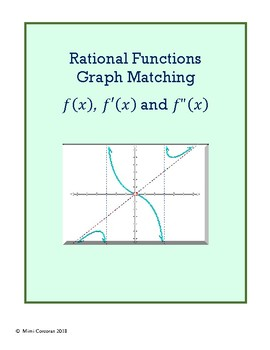 Graph Matching Activity: Function, 1st & 2nd Derivatives - RATIONAL FUNCTIONS