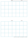 Graph Paper: 2 Per Page Grid - 1 inch squares - 7x4 boxes - King Virtue