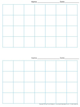 Graph Paper: 2 Per Page Grid - 1 inch squares - 7x4 boxes