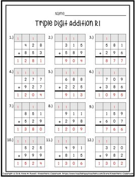 Double and Triple Digit Addition Worksheets - Graph Paper