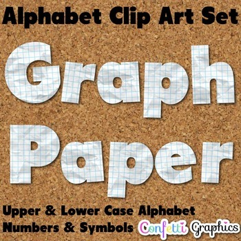 Graph Paper Clip Art Alphabet Upper / Lower Case Numbers &