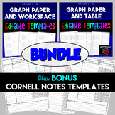 Graph Paper with Table & Work Space Editable Templates Bundle plus Cornell Notes