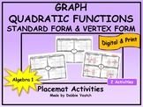 Graph Quadratic Functions in Standard & Vertex Form Placemat   Distance Learning