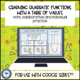 Graph Quadratic Table of Values for use with Google Slides